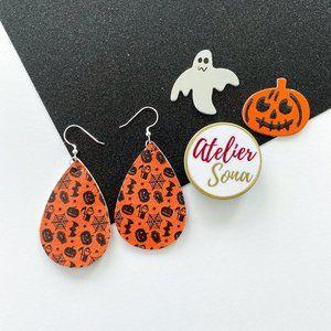 Halloween Tear Drop Earrings - Orange/Black